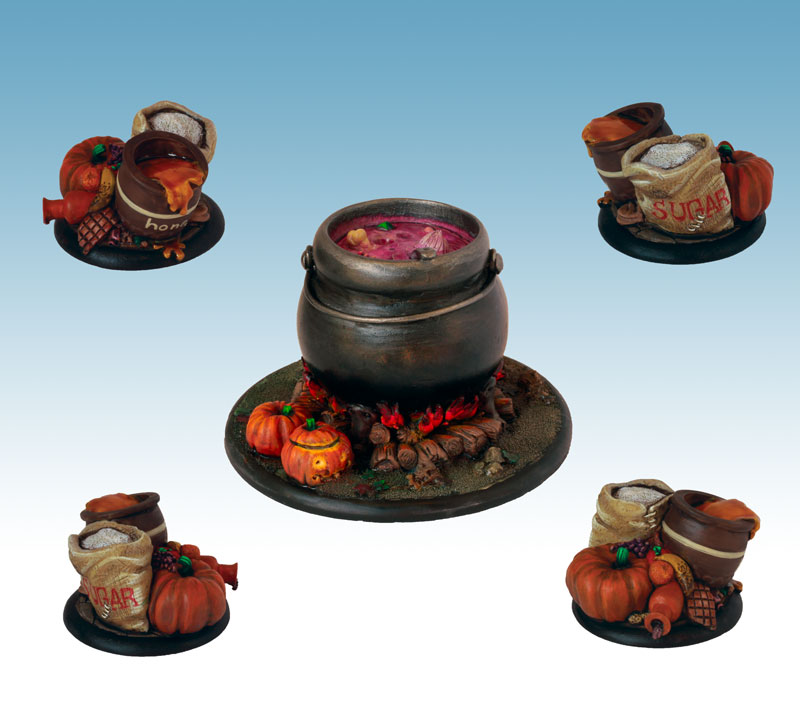 Cauldron and ingredients