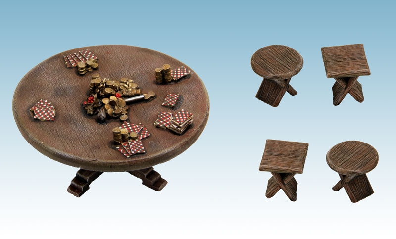 Poker table and stools